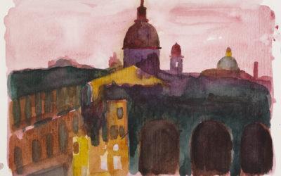 Akvarel og tegning Rom Italien