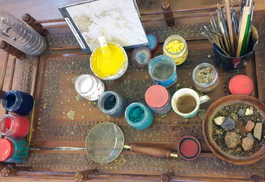Malerejse Indien traditionelle farver