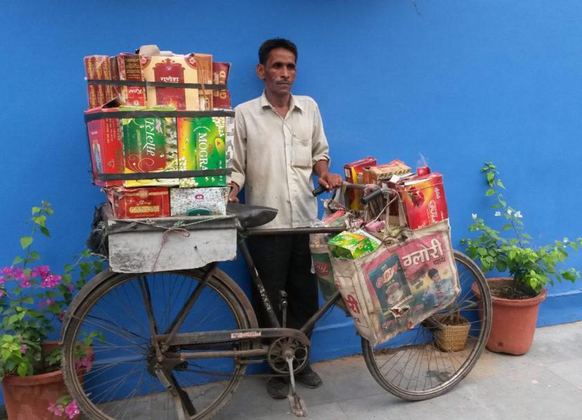 Malerrejse Indien cykel sælger